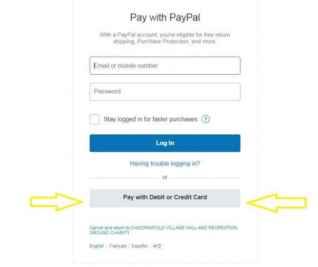 Paypal page for credit cards and paypal payments